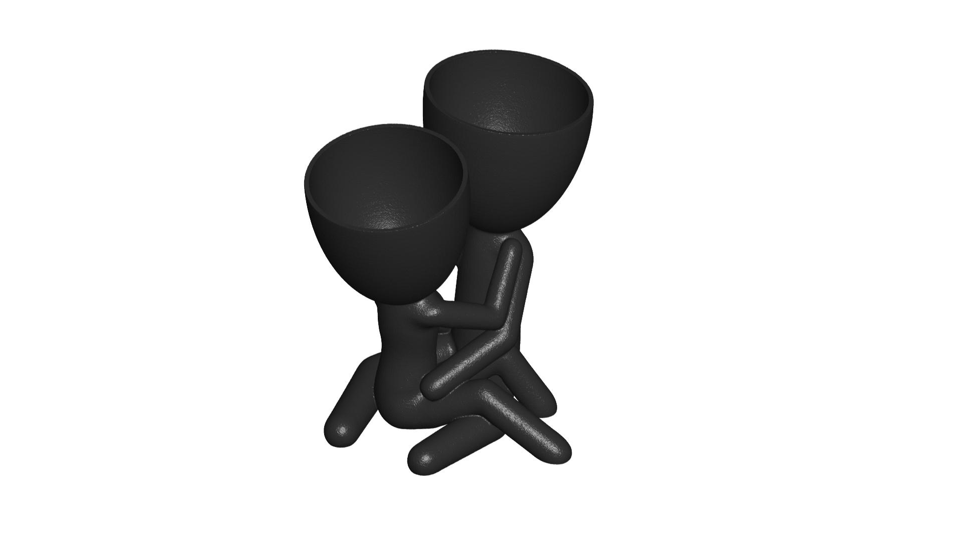 200_Enamorados_Negro_1.png Télécharger fichier STL gratuit N° 200 VASE POT DE FLEURS ROBERT IN LOVE • Plan pour imprimante 3D, CREATIONSISHI