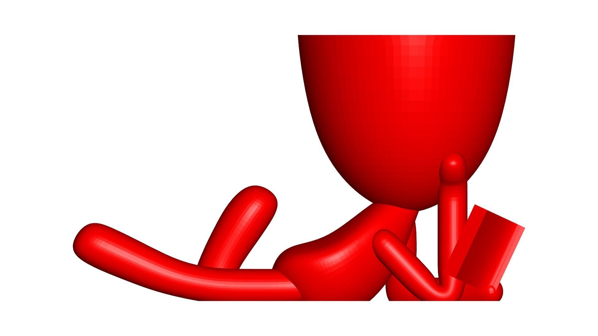 Vaso_101_Leyendo Libro_3.jpg Télécharger fichier STL gratuit Vase Pot de fleurs Robert lisant un livre • Plan imprimable en 3D, CREATIONSISHI