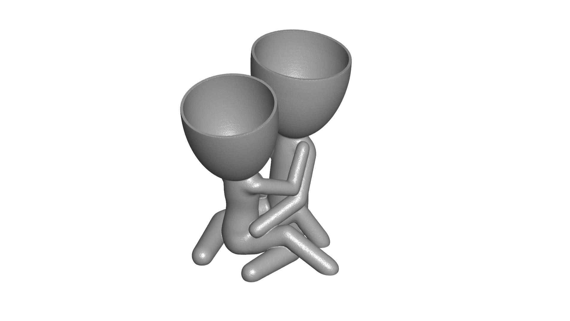 200_Enamorados_Gris_1.png Télécharger fichier STL gratuit N° 200 VASE POT DE FLEURS ROBERT IN LOVE • Plan pour imprimante 3D, CREATIONSISHI