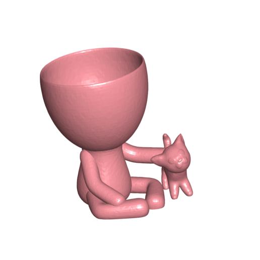Robercat_0.png Télécharger fichier STL gratuit Vase Robert Planter avec l'animal de compagnie n° 111 • Design imprimable en 3D, CREATIONSISHI