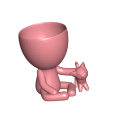 Robercat_0.png Download free STL file Robert Planter Vase with Cat Pet N ° 111 • Object to 3D print, CREATIONSISHI