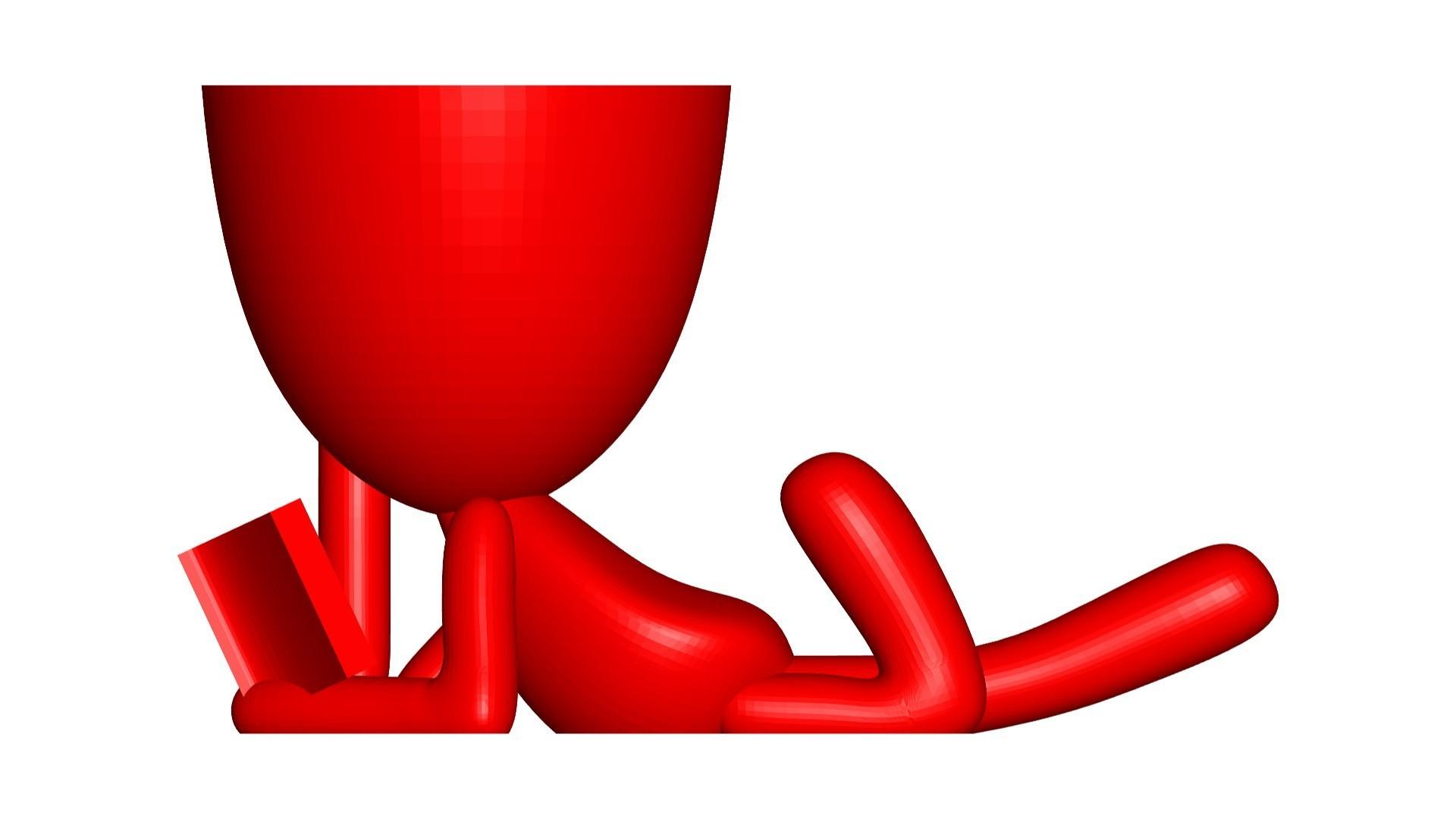 Vaso_101_Leyendo Libro_2.jpg Télécharger fichier STL gratuit Vase Pot de fleurs Robert lisant un livre • Plan imprimable en 3D, CREATIONSISHI