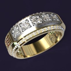Download 3D printing templates Jewellery Ring Versace, Geek-Customer