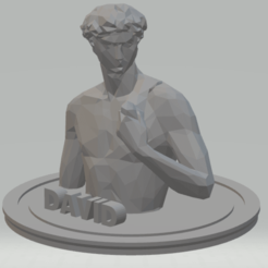 2.png Télécharger fichier STL DAVID-LOW POLY BUST(Michel-Ange) • Design pour impression 3D, luisdn209