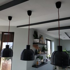 Download 3D printer templates BIG INDUSTIAL LAMP. IKEA BULB MOUNT COMPATIBILE -  dining room version, pparsniak