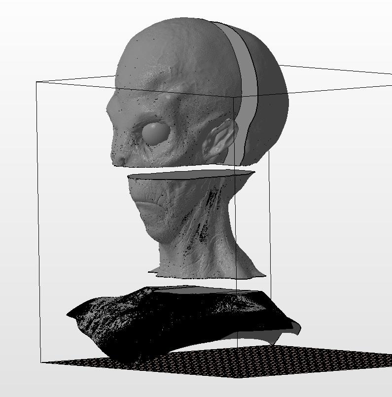 alien_splitted.jpg Download free STL file Detailed alien head splited to fit the bed • 3D print template, pparsniak