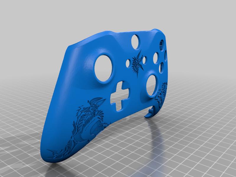 Monster_Hunter_Zinogre_Controller.png Télécharger fichier STL gratuit Xbox One S Custom Controller Shell : Chasseur de monstres édition Zinogre • Plan imprimable en 3D, mmjames