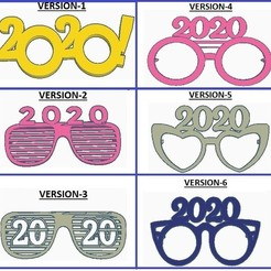2020glasses.jpg Download STL file new year 2020 items. • 3D printing design, GalacticCreator