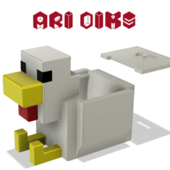 2020-12-27 (15).png Download STL file Minecraft Chicken (Box or Piggy Bank) • Design to 3D print, AriDiks