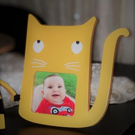 Download free 3D printer designs Cat photo frame, JustAmaze