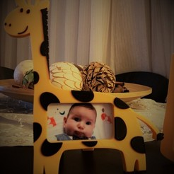 Download free 3D printing designs Giraffe photo frame, JustAmaze