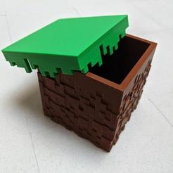 Download free 3D printing templates Textured Minecraft Grass Block Box, marcelwo41edynki