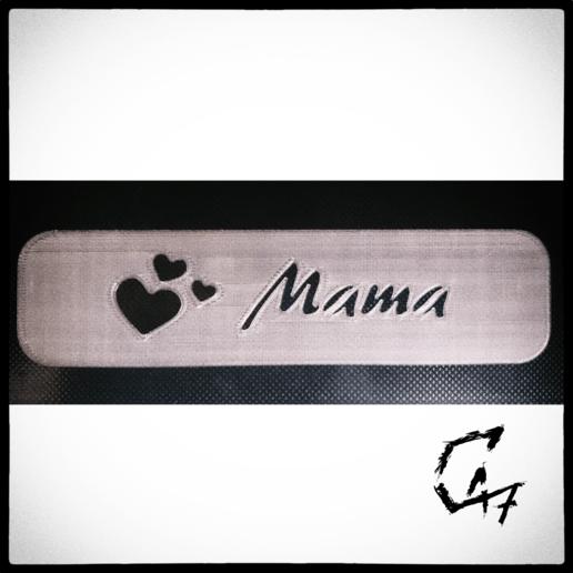 Download free 3D printer designs Bookmark - Hearts - Mama / Mom, c47