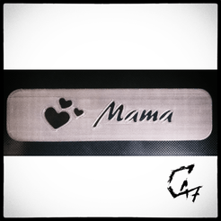 Download free 3D printer designs Bookmark - Hearts - Mama / Mom, c47