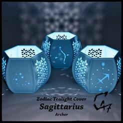 Zodiac_SAGGITARIUS_mix_original_render.jpg Download free STL file Sagittarius (Archer) Tealight Cover • 3D printer template, c47