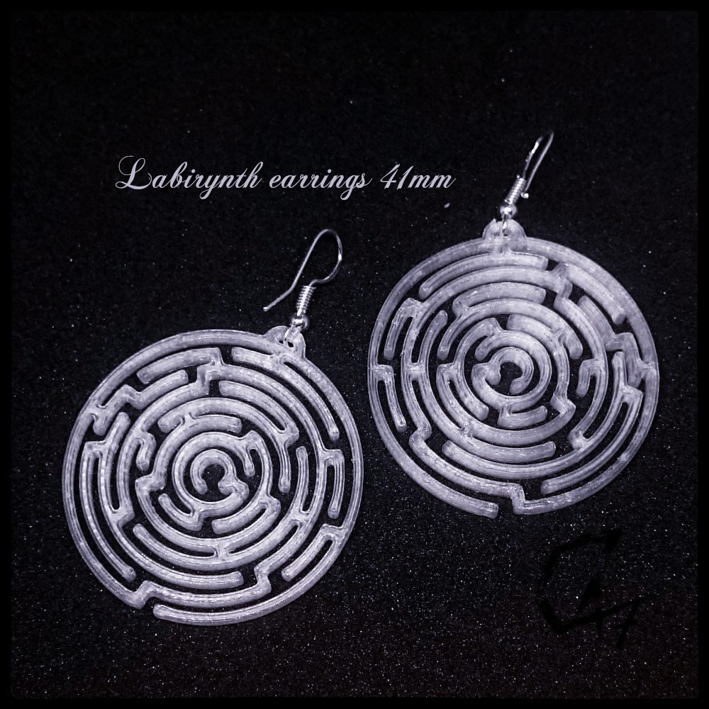Labirynth earrings_41.jpg Download STL file SET of 24 Labirynth earrings / necklaces (4 shapes x 6 sizes) • 3D printer object, c47