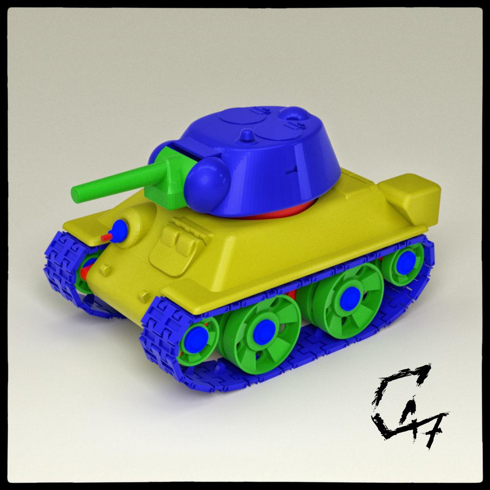 mini t-34 render.jpg Download STL file Mini T-34 • 3D printer model, c47