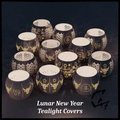 Lunar New Year Cover_0.jpg Télécharger fichier STL Couverture de l'Année du bœuf à la bougie chauffante • Objet pour impression 3D, c47