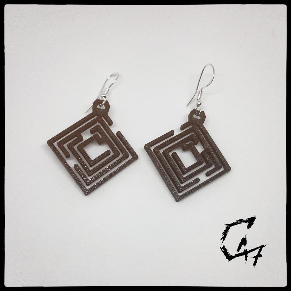Labirynth Rhomb earrings_32.jpg Télécharger fichier STL Ensemble de 24 boucles d'oreilles / colliers Labirynth (4 formes x 6 tailles) • Design à imprimer en 3D, c47