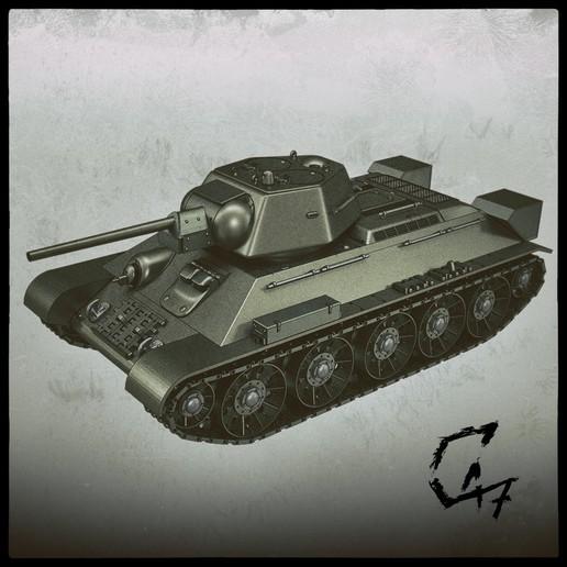 T-34-76_front.jpg Télécharger fichier STL T-34/76 pour l'assemblage, avec voies mobiles • Objet pour imprimante 3D, c47