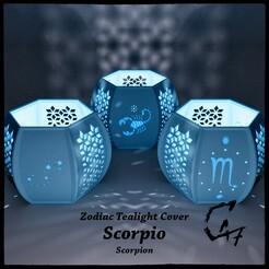Zodiac_SCORPIO_mix_original_render.jpg Télécharger fichier STL Couverture de la bougie à réchaud Scorpion (Scorpio) • Plan pour impression 3D, c47