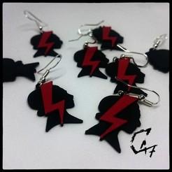 """strajk kobiet earrings.jpg Télécharger fichier STL gratuit Boucles d'oreilles """"Strajk Kobiet • Design imprimable en 3D, c47"""