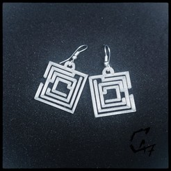 Download free STL file Square Labirynth Earrings - FREE • 3D printer object, c47