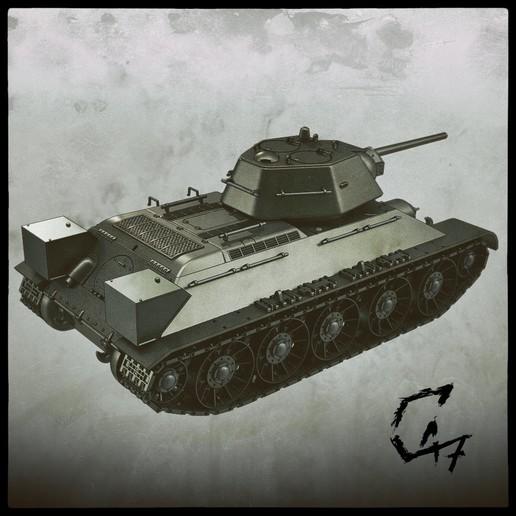 T-34-76_back.jpg Télécharger fichier STL T-34/76 pour l'assemblage, avec voies mobiles • Objet pour imprimante 3D, c47