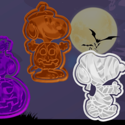 123.png Download STL file 6 SNOOPY HALLOWEEN cookie cutters and fondant • 3D print template, hebert1642