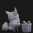 Christmas Eevee_6.png Download STL file Pikachu & Eevee(Pokemon) • 3D printer template, PatrickFanart