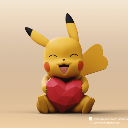 Download free 3D printer designs Pikachu(Pokemon), PatrickFanart