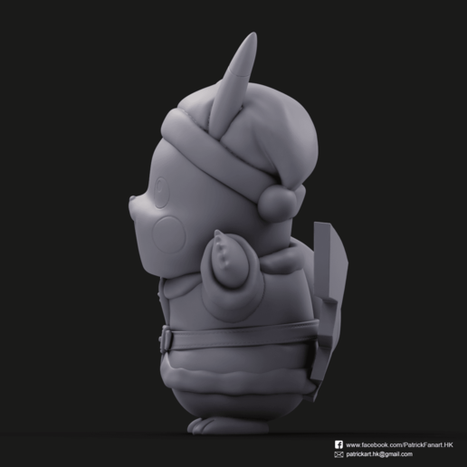 Christmas Pikachu_3.png Download STL file Pikachu & Eevee(Pokemon) • 3D printer template, PatrickFanart
