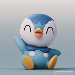 Piplup_2.png Download free STL file Piplup(Pokemon) • Model to 3D print, PatrickFanart