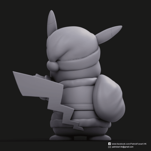 Christmas Pikachu_5.png Download STL file Pikachu & Eevee(Pokemon) • 3D printer template, PatrickFanart