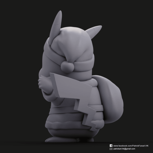 Christmas Pikachu_4.png Download STL file Pikachu & Eevee(Pokemon) • 3D printer template, PatrickFanart