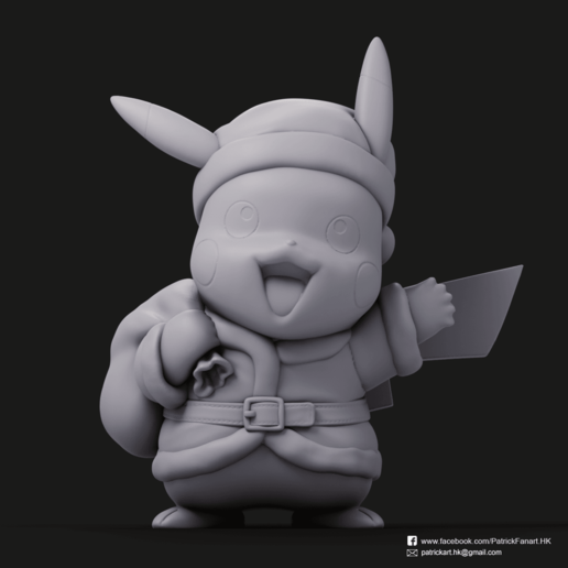 Christmas Pikachu_1.png Download STL file Pikachu & Eevee(Pokemon) • 3D printer template, PatrickFanart