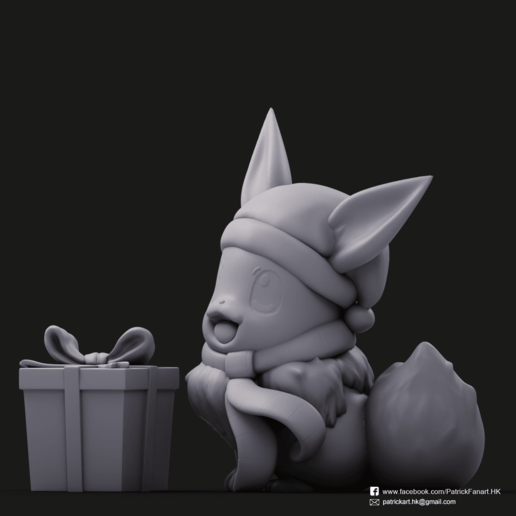 Christmas Eevee_2.png Download STL file Pikachu & Eevee(Pokemon) • 3D printer template, PatrickFanart