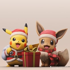 Christmas Pikachu_Eevee_0.jpg Télécharger fichier STL Pikachu & Eevee(Pokemon) • Objet à imprimer en 3D, PatrickFanart