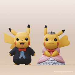 Pikachu couple_B2_0.png Download STL file Pikachu couple (Pokemon) • 3D printer template, PatrickFanart