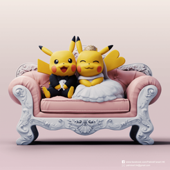 Wedding pikachu with sofa_S0.png Download STL file Pikachu couple (Pokemon) • 3D printer template, PatrickFanart
