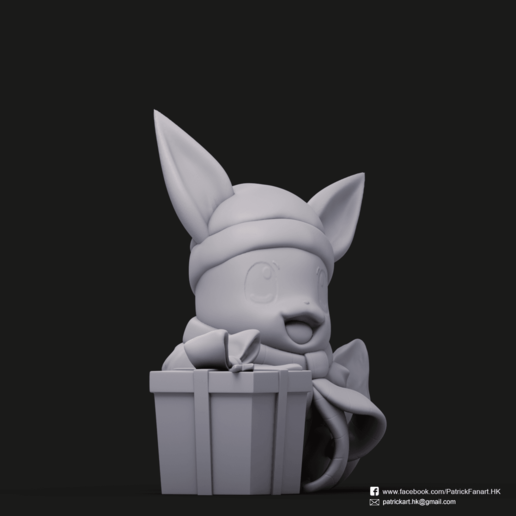 Christmas Eevee_8.png Download STL file Pikachu & Eevee(Pokemon) • 3D printer template, PatrickFanart