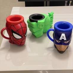 Download 3D printing models Set of 3 mugs, cup, glass HULK fist, Captain America & Spiderman / Set de 3 tazas puño HULK, Capitán América & Spiderman, rfautario