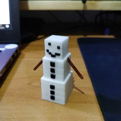 IMG_20190130_132727.jpg Download free STL file Minecraft Snow Golem • 3D printable design, Kliffom