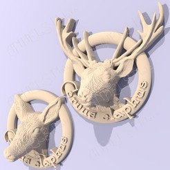 cervus.jpg Download STL file Deer - Cervus elaphus wash basin sign • 3D print model, ANHELS-Natura