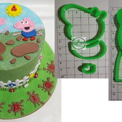 Download 3D print files Peppa & George pig cake topper fondant cutter, CookiesbyLani