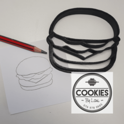hamburger cutter.png Download STL file Hamburger cookie cutter • 3D printer design, CookiesbyLani
