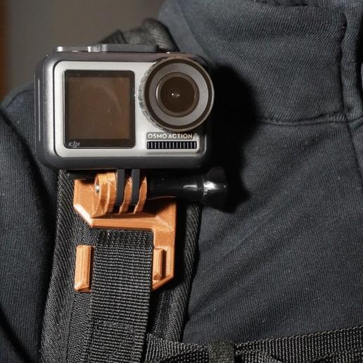 Télécharger STL gratuit Support DJI Osmo Action (GoPro) pour sac à dos, robolab19