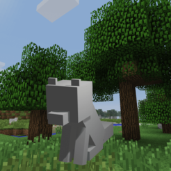 Imprimir en 3D gratis Minecraft sentada Fox, shady333