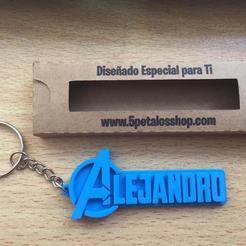 Télécharger fichier 3D Porte-clés avec le nom d'Alejandro, 5petalos