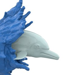 DolphinSplash_1.jpg Download free STL file Dolphin Splash, Wall Mounted • Design to 3D print, Double_Alfa_3D